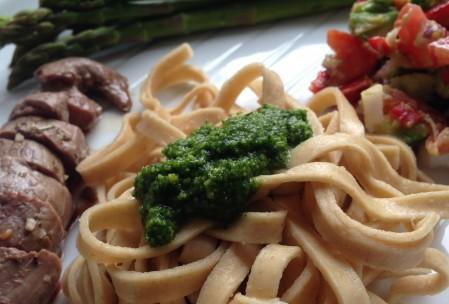 Ramsløgpesto på pasta